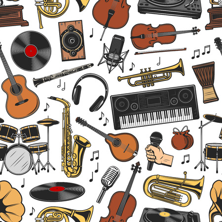 Musical instruments seamless pattern. Vector vinyl and speaker, microphone and flute, violin with bow and guitar, saxophone and drum, synthesizer and headphones, trumpet and notes background Illustration