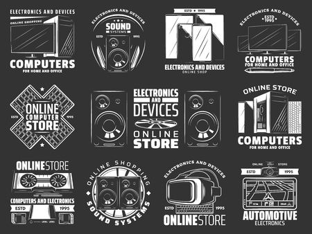 Electronics devices and gadget icons. Computer and headphones, speaker and smartphone, tablet and TV set. Keyboard and joystick, keyboard and memory card, video card and vr glasses