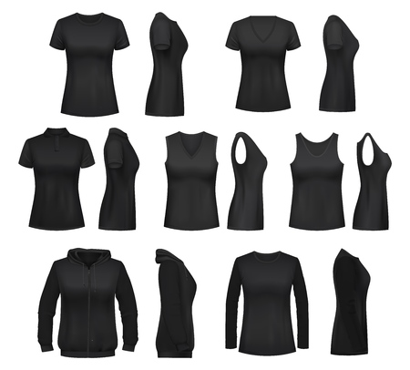 Women clothes isolated mockups. T-shirt and hoodie, sweatshirt, polo and singlet, sleeveless shirt and blouse. Vector female undewear basic clothes black mockups, casual garments design Vettoriali