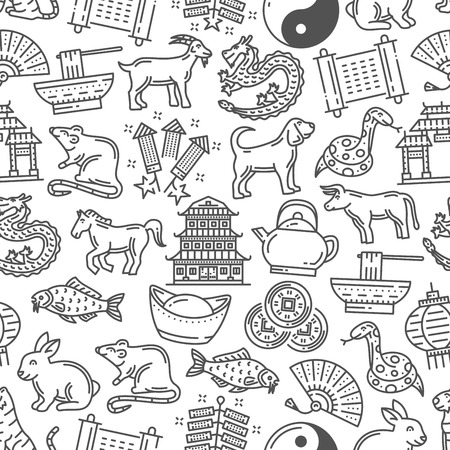 Chinese horoscope, line art seamless pattern. Vector astrological zodiac animals, pagoda and fan, bowl with noodle. Fortune astrology signs, Lunar New Year outline monochrome symbols  イラスト・ベクター素材