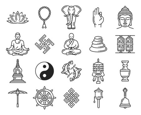 Buddhism religious symbols and icons, vector linear elements. 向量圖像
