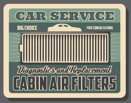 Car cabin air filter, spare auto parts, vector. Vehicle cleaning, cabin air filter, salon or hood conditioning. Car ventilation system, diagnostics and replacement, grill or lattice, transport Illustration