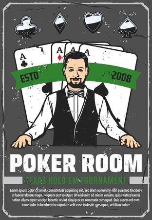 Poker room, casino croupier and gambling. Retro vector play card suits, aces combination, hearts and diamonds, spades and clubs. Gamble worker in bowtie, game with stakes, tournament or championship
