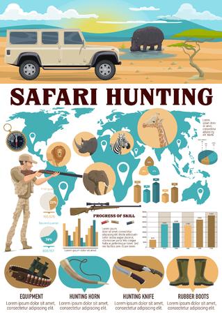 Infografía de deporte de caza de safari. Cazador de vector con arma y León, hipopótamo, elefante, jirafa y cebra en el mapa del mundo. Gráficos y tablas, equipo y cuerno de caza, cuchillo y botas de goma, brújula