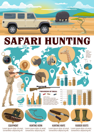 Safari hunting sport infographics. Vector hunter with weapon and lion, hippo, elephant, giraffe and zebra on world map. Graphs and charts, equipment and hunting horn, knife and rubber boots, compass Ilustração