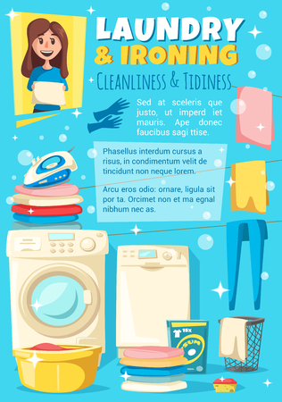 Laundry and ironing woman household chores, vector. Cleanliness and tidiness at home, housewife maid with towel. Watching machine, drying clothes, detergents and cleaning tools, clothes dryer Illustration