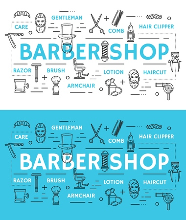 Haircut and shaving barbershop service linear icons. Vector gentleman mustache and beard, comb and scissors, hair clipper and lotion, armchair and brush, razor with blade. Man beauty care, male salon