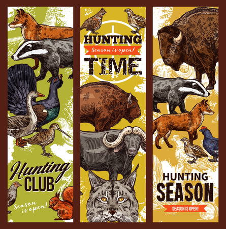 Hunting sport club, animals and birds. Vector wildlife trophies, prey badgers, buffalo and fox, wild goat and woodcock, grouse and elk. Savannah predators, ducks and pheasant, squirrel
