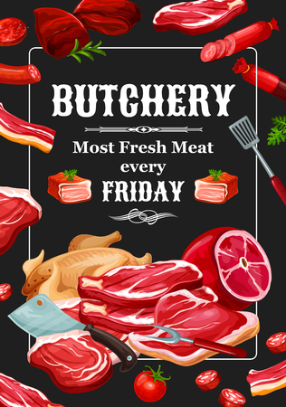 Meat and sausages, butchery food and seasonings. Vector beef and pork, veal and lamb, poultry. Chicken and ham, salami and steak, tenderloin and sirloin, spatula, fork and knife, tomato and parsley