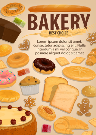 Bakery pastry food, baked desserts and sweets. Vector bread and pie cake, baguette and pita, bun and cupcake. Donut and gingerbread cookie, bagel and toast, croissant and marmalade, candy and cracker