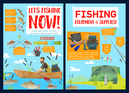 Fishing sport equipment and supplies, camping travel. Vector fisherman in boat and fishery items, river fish. Backpack and cauldron, tent and gumboots, perch and carp, bream and catfish, crayfish Illustration