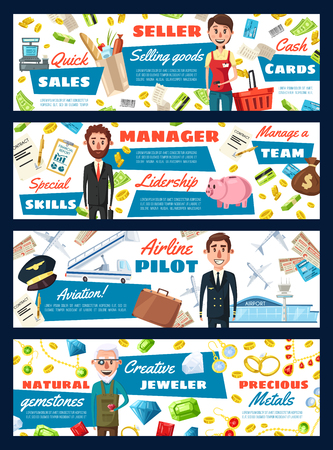 Professions of pilot and manager, jeweler and seller. Vector saleswoman and cash counter, money and businessman, airplane and aviator, goldsmith and rings. Selling, leadership, aviation and gems