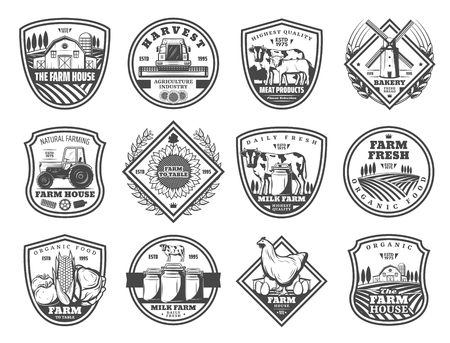 Farming and agriculture industry monochrome icons. Vector farm house, combine harvester, meat and wind mill, tractor and sunflower. Dairy milk and healthy food, poultry and grain storages Illusztráció