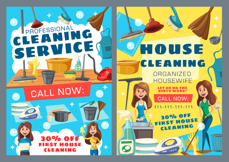 House cleaning service, professional housewife help. Vector washing and laundry, ironing and dishwashing. Housemaids in aprons, protective gloves and broom, vacuum cleaner and sink, dishware Illustration