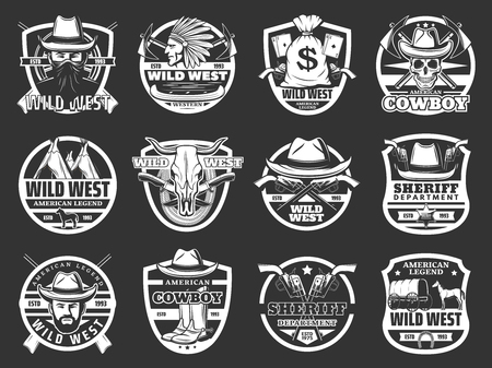 Wild West western isolated symbols. Vector cowboy in hat and gun, revolver and skull, bandit and Indian. Bull and native American, money bag and knives, carriage and horse, wigwam and canoe