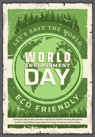 World environment day, earth protection. Vector eco friendly holiday of planet protection, globe with firs and spruces. Recycling and re-using, waste reduction, green energy production