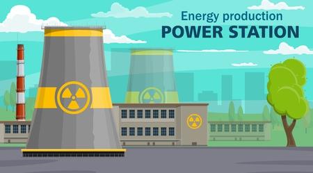 Centrale nucléaire, production d'énergie. Bâtiment de réacteur à énergie vectorielle avec signe de rayonnement, usine industrielle. Turbines, générateurs de pollution atmosphérique, pipelines toxiques industriels, arbre et ciel Vecteurs