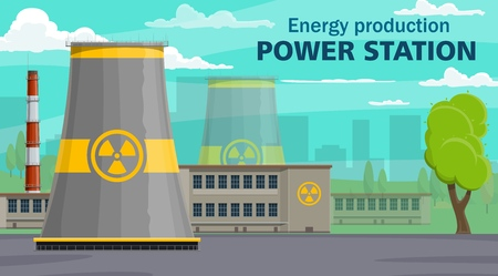 Nuclear power plant, energy production. Vector energy reactor building with radiation sign, industrial factory. Turbines, air pollution generators, industrial toxic pipelines, tree and sky