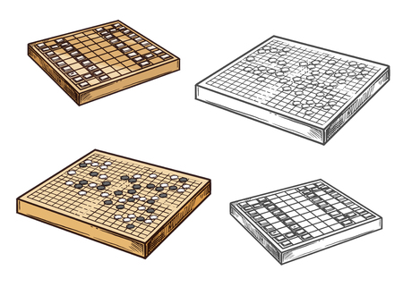 Japanese go and shogi chess game vector icons. Strategy oriental game on wooden board. Entertainment amusement, intellectual contest mind sport. Monochrome battleground color play pieces Banque d'images - 124356562