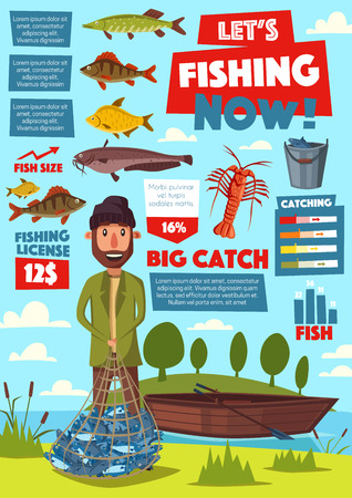 Fisherman and fishery equipment, fishing sport vector infographic. Fish in net, crucian and herring, crayfish or lobster and catfish, carp and marlin, bass. Boat and bucket, legal license on catching