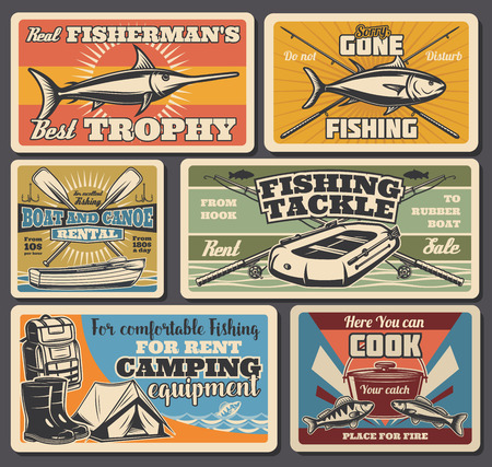 Fishing equipment, sport and recreation, travel and camping. Vector marlin and salmon, rod and boot, oar and tackle, tent and gumboots, rucksack and cauldron. Fishery items, canoe and boats rent