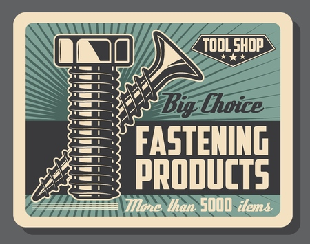 Fastening tools shop, bolts and screws, construction and repairs. Vector details and equipment, construction parts and fastener details, tool store. Fixing items, house and furniture renovation