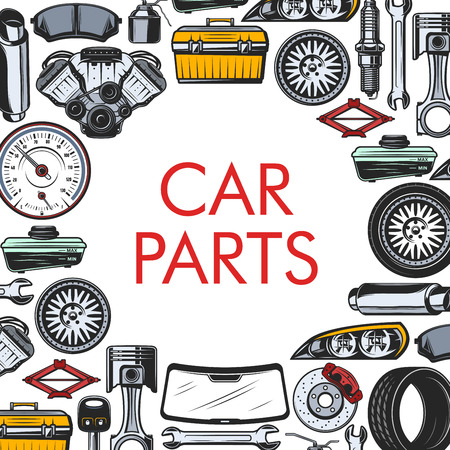 Car spare parts, auto repair service. Vector vehicle gear, tool kit and wheel, jack and muffler, screwdriver and motor filters. Speedometer and mirror, muffler and spanner, maintenance and fix