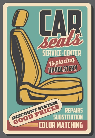 Car seats, salon furniture repair service. Vector upholstery replacement, leather and fabric or textile. Vehicle repairing and garage station, color matching and substitution