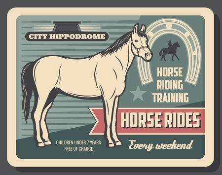 Horse riding and hippodrome, equestrian sport. Vector horse stallion with hooves, horseshoe and horseback, rider silhouette. Racecourse and trainings, competition or tournament Illusztráció