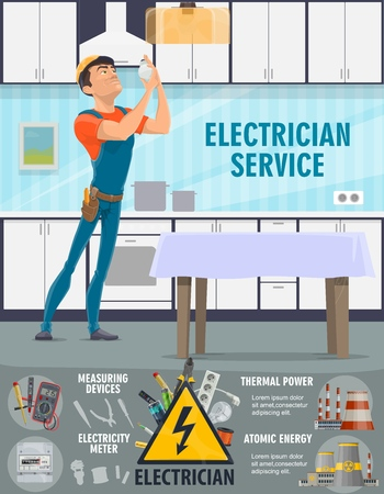 Electrician service, light bulbs replacement. Vector electrical devices, thermal power and nuclear power plants. Man in overalls and helmet replacing light bulb on kitchen