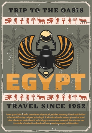 Egyptian scarab vector bug, retro carabaeus sacer. Travel to Egypt, ancient religious symbols, Horus eye and Ra, Anubis and ox, coptic cross and palm tree. Symbolic beetle holding gold ball Illustration