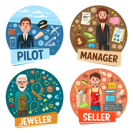Profession, pilot and manager, jeweler and seller. Vector airplane and aviator, money and businessman, goldsmith and rings, saleswoman and cash counter. Occupation or vacancy, workers hiring Illustration