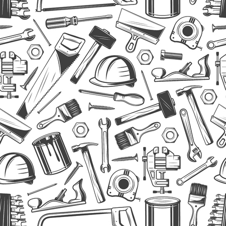 Building and construction tools seamless pattern. Vector saw and hammer, paint brush, helmet and screwdriver. Screw and nail, nut and file, roller and wrench, putty knife