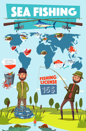 Sea fishing sport, fisherman with rod and net full of fish. Vector map with locations and fishery equipment, rod and bait, crucian and herring. Carp and marlin, crab and lobster, octopus and bass Banco de Imagens - 124356571