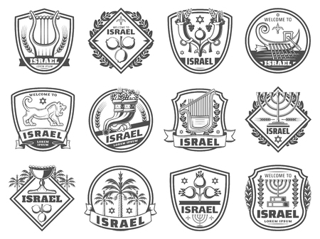 Israel culture symbols, religion and tradition monochrome icons. Vector harp and pomegranate, cornucopia and boat with oars. Lion and David star, candlestick and goblet, palm trees, judaic grail 일러스트