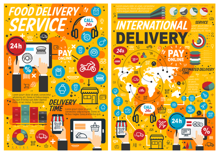 Food delivery services, online order and pay, estimated delivery time. Vector fast food, graphs and charts, computers and smartphones. Pizza and donuts, hamburgers, french fries, call 24h Illusztráció