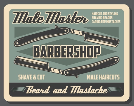 Barbershop service, dangerous razor with blade, hairdressing salon. Retro vector shave and haircut, moustache and beard styling, grooming or hairdo, male master and hairstyle, mustaches caring