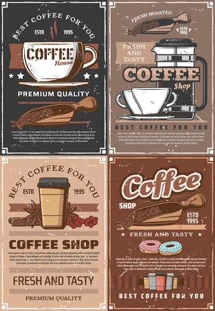 Coffee brewing, beans in scoop and pot, paper and glass cups. Hot steaming americano or macchiato, moka and espresso coffee. Vector donuts and beverage, takeaway container, vanilla and anise star