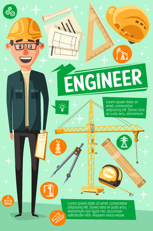 Engineer profession, experienced builder. Vector worker in helmet, project in hands, technician manager hiring recruit. Building tools, ruler and crane, work plan and divider, measurement tools