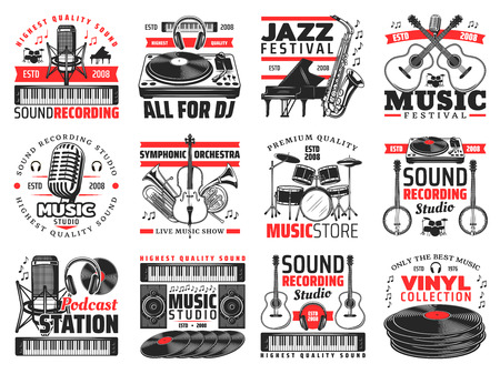Musical instruments, sound recording studio icons. Vector microphone and synthesizer, DJ panel and headphones, piano and saxophone, guitar and violin, trumpet and drums, banjo and vinyl disk Illustration