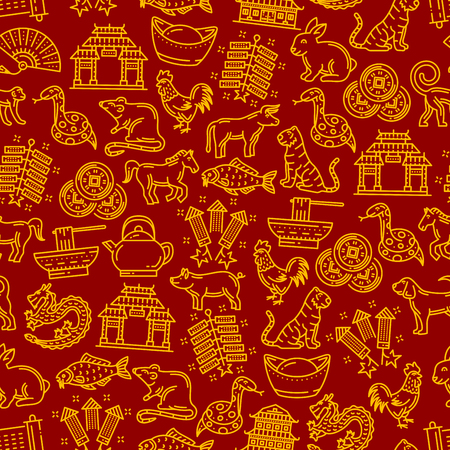 Chinese pattern of lunar year signs. Vector seamless background or traditional religious Chinese New Year symbols of dragon fireworks or firecrackers, coins or noodles and lanterns or Asian noodles Ilustração