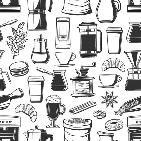 Coffee and breakfast seamless pattern, beans and cup. Vector hot beverage, croissant and donut, macaroon, anise and cinnamon. Energetic drink in glass, takeaway cup and coffee machine, turk and pot  イラスト・ベクター素材