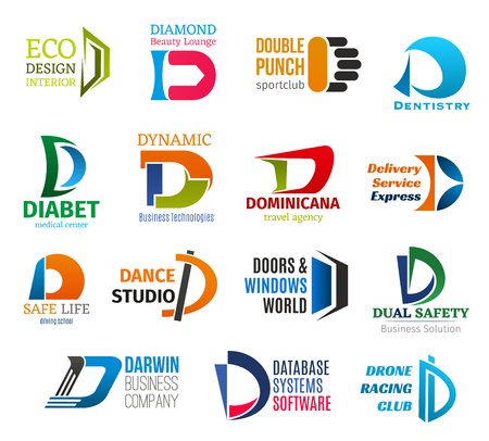 Corporate identity letter D business icons. Vector design and beauty, sport and medicine, health and technology, travel and delivery, education and hobby, building and safety, software and pastime