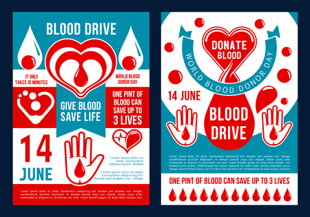 World blood donor day brochure for blood donation. Vector medical posters design of heart, blood drop and helping hand for 14 June social charity and medical volunteering