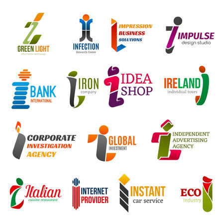 Corporate identity letter I business icons. Vector technology, research and banking, shopping and travel, investigation and finance. Advertising and food, internet and repair, transport and ecology