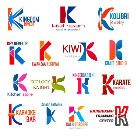 Corporate identity letter K business icons. Vector finance, food and jewelry, development and entertainment, travel and studio. Shopping, ecology and education, sport and software, event and training