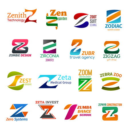 Corporate identity letter Z business icons. Vector technology, gardening and sewing, food, design and jewelry, travel and shopping. Medicine and advertising, zoology and finance, activity and building Иллюстрация