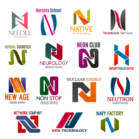 Corporate identity letter N business icons. Vector shopping and education, service, beauty and medicine, entertainment. Jurisprudence and design, energy and technology, Internet and factory industries