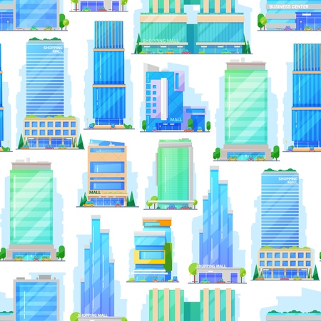 Shopping malls, trade and business centers pattern. Vector seamless background of commercial buildings, shops or stores and city supermarkets or offices