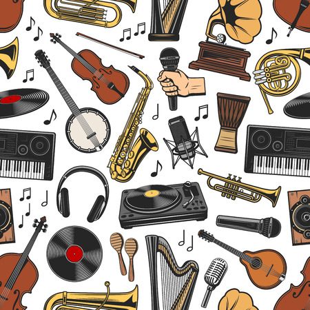 Musical instruments seamless pattern background. Vector trumpet and harp, gramophone, banjo and violin, synthesizer and drum, vinyl disc. Headphones and microphone, maracas and saxophone with notes